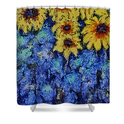 Six Sunflowers On Blue Shower Curtain by Claire Bull
