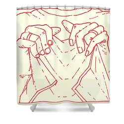 Shower Curtain featuring the drawing Sixth Station- Veronica Wipes The Face Of Jesus by William Hart McNichols