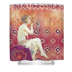 Shower Curtain featuring the mixed media Size Matters by Desiree Paquette