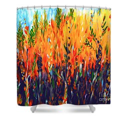 Shower Curtain featuring the painting Sizzlescape by Holly Carmichael