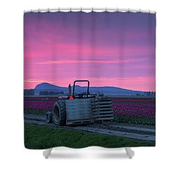 Shower Curtain featuring the photograph Skagit Valley Dusk Calm by Mike Reid