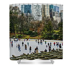 Shower Curtain featuring the photograph Skating At Central Park by Sandy Moulder