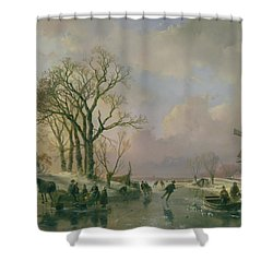 Skating In Holland Shower Curtain by Andreas Schelfhout