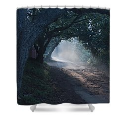 Skc 4671 Road Towards Light Shower Curtain by Sunil Kapadia