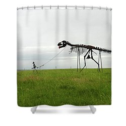 Skeletal Man Walking His Dinosaur Statue Shower Curtain