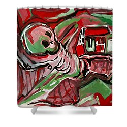 Shower Curtain featuring the painting Skeleton by Helen Syron