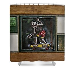 Skeleton On Wheels Shower Curtain