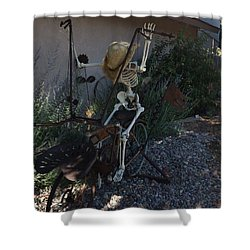 Skeleton's Bike Ride  Shower Curtain by Cindy Croal