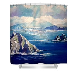 Shower Curtain featuring the painting Skelligs Ireland by Paul Weerasekera