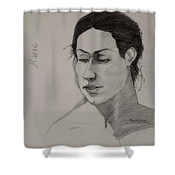 Shower Curtain featuring the drawing Sketch For Marie 2 by Ray Agius