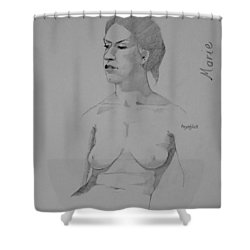 Shower Curtain featuring the drawing Sketch For Marie Seated by Ray Agius