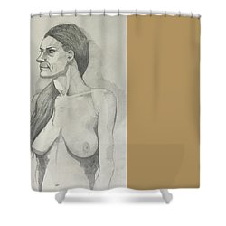 Sketch Mary Lying Shower Curtain