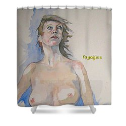 Shower Curtain featuring the painting Sketch For Megan V by Ray Agius