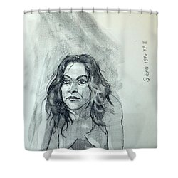 Sketch For Sera.10.01 Shower Curtain by Ray Agius