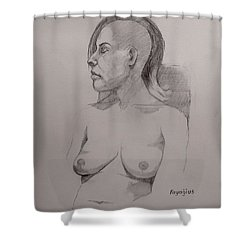 Shower Curtain featuring the drawing Sketch For Sitting Cassie by Ray Agius