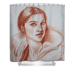 Sketch In Conte Crayon Shower Curtain