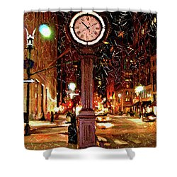 Sketch Of Midtown Clock In The Snow Shower Curtain by Randy Aveille