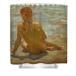 Sketch Of Nude Youth Study For Morning Spelendour Shower Curtain by Henry Scott Tuke