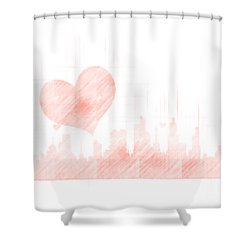 Sketch Of The City Skyline Shower Curtain