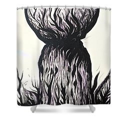 Sketchy Latte Stone Shower Curtain