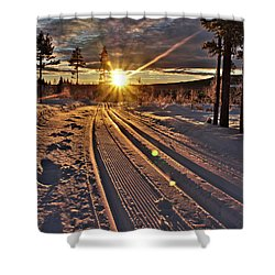 Ski Trails With Sun Beams Shower Curtain by Tamara Sushko