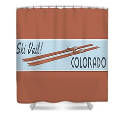 Shower Curtain featuring the digital art Ski Vail Colorado Vintage Poster by Edward Fielding