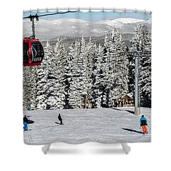 Skiers Limber Up Under A Gondola Near The Summit Of Aspen Mountain Shower Curtain