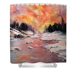 Skies Of Mercy Shower Curtain by Meaghan Troup