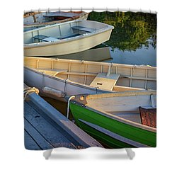 Shower Curtain featuring the photograph Skiffs In Tenants Harbor by Rick Berk
