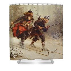 Skiing Birchlegs Crossing The Mountain With The Royal Child Shower Curtain