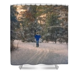 Skiing Borderland In Afternoon Light Shower Curtain