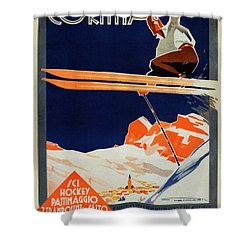 Skiing On The Alps In Cortina - Ice Hockey Tournament - Vintage Advertising Poster Shower Curtain