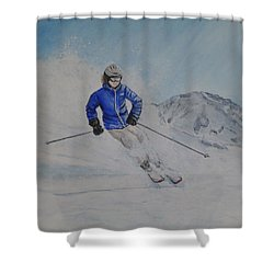 Skiing The Whistler Blackcomb In Bc Shower Curtain