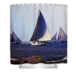 Skipjacks Racing IIi Chesapeake Bay Maryland Contemporary Digital Art Work Shower Curtain