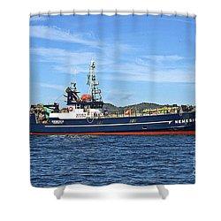 Skipper Kris At The Wheel Shower Curtain