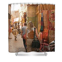 Skn 1226 The Squeezed Lane Shower Curtain by Sunil Kapadia