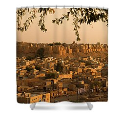 Skn 1334 The Golden City Shower Curtain by Sunil Kapadia
