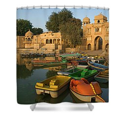 Skn 1391 A Visit To Gadisar Lake Shower Curtain by Sunil Kapadia