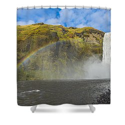 Skogafoss Rainbow Shower Curtain