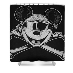 Skull And Bones Mickey  Shower Curtain by Rob Hans