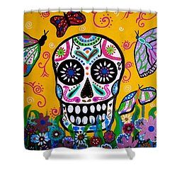 Skull And Butterflies Shower Curtain by Pristine Cartera Turkus