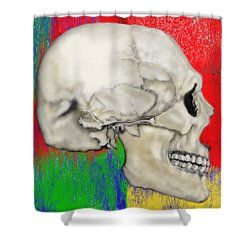 Skull In Primary Without Shape Shower Curtain
