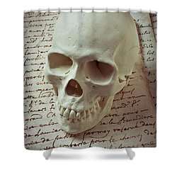 Skull On Old Letters Shower Curtain by Garry Gay