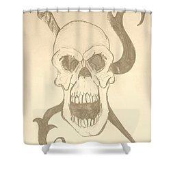Skull Tattoo Shower Curtain