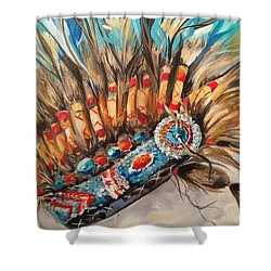 Sky Feather Detail Shower Curtain by Heather Roddy
