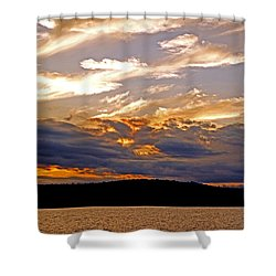 Shower Curtain featuring the photograph Sky Fire by Lynda Lehmann
