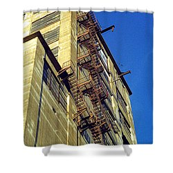 Shower Curtain featuring the photograph Sky High Warehouse by T Brian Jones