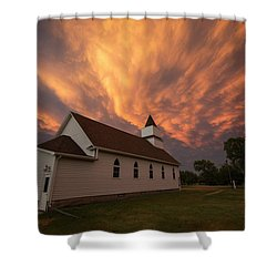 Shower Curtain featuring the photograph Sky Of Fire by Aaron J Groen