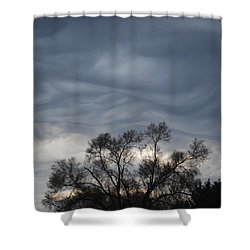 Shower Curtain featuring the photograph Sky Of Ribbons by Ramona Whiteaker