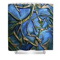 Shower Curtain featuring the mixed media Sky Through The Trees by Angela Stout